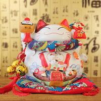 特大号16八方来财招财猫14寸开业乔迁礼品摆件创意陶瓷存钱储蓄罐