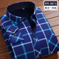 柏莉鸟男士保暖衬衫男长袖加绒加厚寸冬季中青年休闲格子衬衣男装