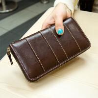 韩版潮流新款拼接牛皮真皮钱包女士长款拉链复古手拿钱夹 咖啡色 少量现货