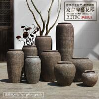 复古粗陶土做旧陶瓷花瓶落地大号花盆景观摆件禅意干支陶罐工艺品