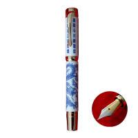 英雄HERO钢笔 2188 青花瓷 陶瓷 景泰蓝 青龙 牡丹 14K金笔 墨水笔