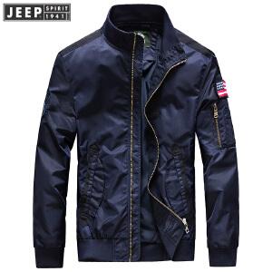 JEEP SPIRIT吉普男装春秋薄款夹克中青年时尚休闲立领茄克外套运动户外男夹克