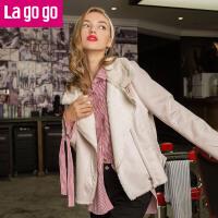 Lagogo/拉谷谷2017年冬新款小立领斜门襟外套