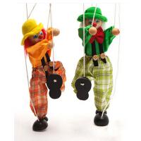 木制拉线木偶 拉线小丑儿童 锻炼宝宝手指灵活 木偶玩具拉线人偶