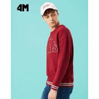 美特斯邦威旗下 4M圆领套头衫2018春装新款纯棉针织衫青年男装韩版