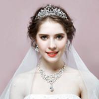 新娘头饰三件套结婚饰品项链耳环皇冠发饰套装婚纱礼服配饰