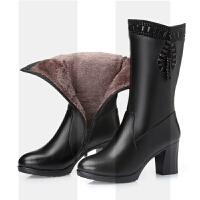 2018新款马丁靴女黑色冬季加绒真皮羊毛靴子女中筒靴粗跟中跟保暖SN1557