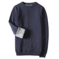 冬季圆领毛衣男加绒加厚韩版修身潮流男士线衣保暖针织衫