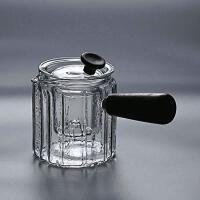 普智 锤目纹玻璃侧把壶耐热透明玻璃煮茶器木柄煮茶器功夫茶具泡茶壶加厚玻璃茶具