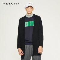 【满1000减750】MECITY男装中长款韩版西装领毛衣外套羊毛针织开衫男