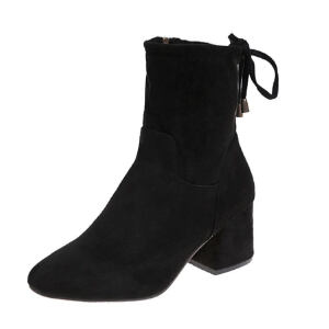 WARORWAR 2019新品YM82-T378冬季韩版粗跟鞋高跟鞋女鞋潮流时尚潮鞋百搭潮牌靴子切尔西靴短靴