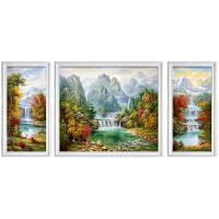 美式油画手绘瀑布聚宝盆小鹿风景客厅三联组合有框装饰画中式欧式 左右50*70中70*90微喷 组合