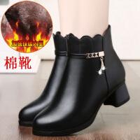 妈妈时尚真皮加绒中年女靴子冬季短靴软底中老年人女鞋中跟皮鞋SN5891 黑色 80棉靴