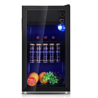 西泠(Serene)BC-98单门小冰 箱家用小型客厅办公室透明玻璃门饮料保鲜茶叶冷藏柜 冷藏微冻保鲜柜 珀金净味 省