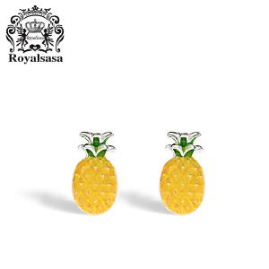 皇家莎莎度假风菠萝耳环女925银耳坠淑女气质耳饰夏季个性耳钉