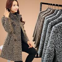 千格毛呢外套女中长款20秋冬装新款加厚格子羊绒羊毛呢子大衣