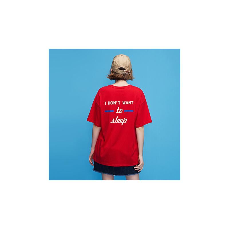 初语2018夏季新款 ulzzang字母刺绣圆领宽松ins韩版 t恤女上衣