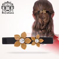 皇家莎莎韩国 头饰发饰品横夹弹簧夹盘发顶夹马尾夹花朵盘头发卡子