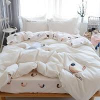 水洗棉四件套1.8m双人床单被罩被套小清新床上三件套1.5