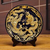 漆线雕龙凤挂盘子陶瓷摆件厦门手工工艺品客厅玄关装饰品创意礼品