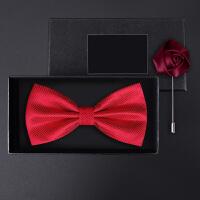 正装结婚婚礼英伦韩版蝴蝶结胸针男士礼盒装红经白小格领结套装