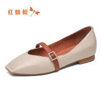 【红蜻蜓过年不打烊,领�辉偌�100】红蜻蜓女鞋春季新品复古鞋方头玛丽珍鞋一字扣软底平底鞋