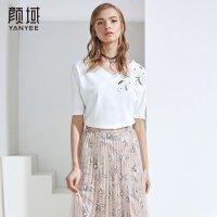 颜域品牌女装夏季新款时尚简约宽松T恤纯色贴花短袖V领上衣