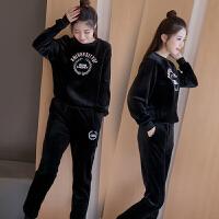 运动服套装女秋装韩版时尚秋冬季宽松休闲卫衣两件套 黑色 双面绒