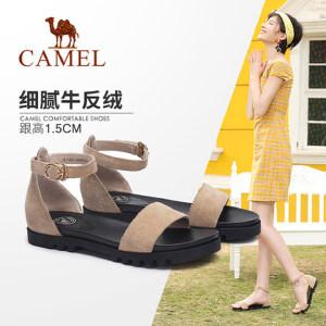 骆驼女鞋 2018夏季新款凉鞋女 舒适休闲牛反绒平跟鞋搭扣包跟凉鞋