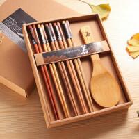 白领公社 筷子饭勺套装 便携日式和风原木实木筷子5双+1饭勺礼盒装两套套装礼盒礼品家庭装