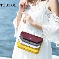 toutou2017夏天新款明星同款韩版风琴褶撞色链条百搭小方包斜挎包