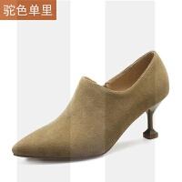 2018新款春秋冬季猫跟深口高跟鞋女鞋子踝靴及裸靴子小跟短靴单鞋SN1892