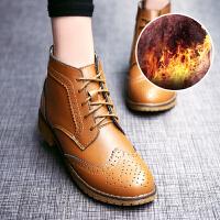 公猴【真皮爆款】秋季新款英伦短靴女学院风雕花真皮布洛克短筒马丁靴欧美平底女靴