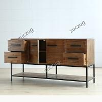ZUCZUG餐边柜复古实木客厅餐边柜工业风家具柜子储物柜收纳柜子抽屉式 如图 整装