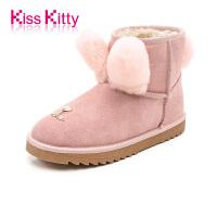 KissKitty2017冬季新款加绒加厚保暖皮毛一体萌宠短筒雪地靴女