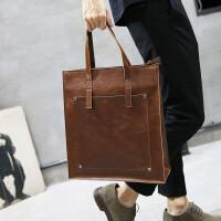 男包手提包商务男士单肩包竖款斜挎背包休闲潮流公文包疯马皮铆钉 咖啡色