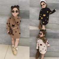 中小童冬装新款女童星星百搭时尚加绒加厚中长款针织衫A2-B
