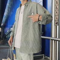 秋装衬衫男长袖韩版衬衣男学生寸衣服港风条纹