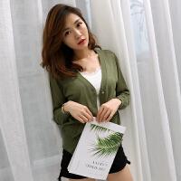 2018夏季新款短款防晒衣女学生服韩版薄款百搭长袖防晒衫外套空调衫
