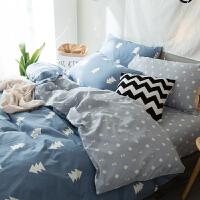 喷气式舒适亲肤四件套简约床单被套1.5/1.8m印花床品套件