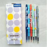 按动针管中性笔 H4603 0.5MM 蓝色书写 12支/盒 笔杆颜色*