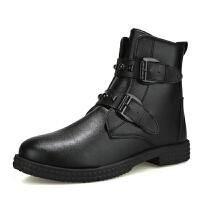 马丁靴男中帮复古潮靴新款高帮男工装靴沙漠男靴子 黑色
