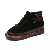 秋冬季新款文艺森女系短靴平底靴原宿复古圆头靴子软底舒适女靴子真皮