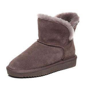 Belle/百丽2017冬简约雪地靴牛剖层皮女短靴03358DD7