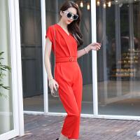 风轩衣度 套装休闲款V领纯色褶皱夏季短袖宽松八分铅笔裤两件套2561-1626