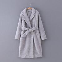 484 女装 冬季新款简约纯色腰带修身插肩长袖女大衣毛呢外套