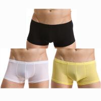 三条装男士JJ冰丝无痕低腰平角青年诱惑内裤潮性感半透明超薄夏季 X