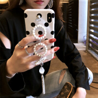 苹果X手机壳新款女iPhone6splus全包防摔六7p流苏8八珍珠链条 iphone X
