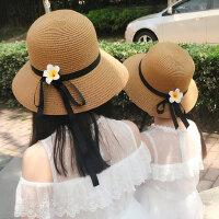 防晒亲子太阳沙滩帽 女童凉帽母女出游遮阳帽 中大儿童小清新海边草帽