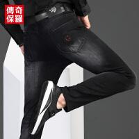 传奇保罗黑色牛仔裤男冬季抓绒保暖裤子潮修身直筒深色水洗牛子裤819106